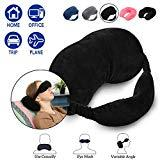 Offer for HERIGGA Travel Pillow Eye Mask Neck Pillow for Head Support Hand Washable Ergonomic Car Pillow for Airplanes Buses Office Home