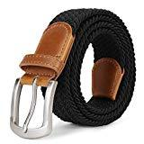 Offer for Mens Woven Braided Belts Canvas Elastic Fabric Belts For Men Stretch Belt With Pin Buckle Leather Loop End Tip