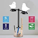 Offer for GZLEERLE Smart Touch Control Table Lamp, Eye Caring LED Desk Lamp with Pen Holder, Touch Sensor Bedside Lamps for Bedrooms, Bird Shape Lamp for Kids (Brown)