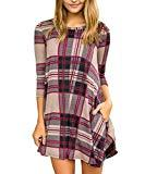 Offer for Makkrom Womens Loose Long Sleeve Plaid Tunic Dress Color Block Swing Oversized Tshirt Dress