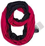 Offer for Infinity Scarf New Shawl Zip Pocket Wrap - Red Black Burgundy Fashion