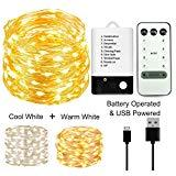 Offer for BOHON Fairy Lights 33ft 100LEDs String Lights Battery Operated and USB Powered Dimmable Starry String Lights Remote Control for Wedding Valentine's Day Christmas Decor (Warm White + Cool White)