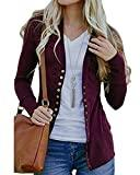 Offer for Tooklanet Women's Color Block Long Sleeve Casual Shirt Lightweight Tunic (Large, Wine Red-04)