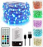 Offer for BOHON Fairy Lights 33ft 100LEDs String Lights Battery Operated and USB Powered Firefly Lights Remote for Wedding Parties Valentine's Day Christmas Decor (Multicolor+ Warm White)