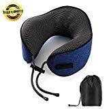 Offer for Travel Pillow,100% Pure Memory Foam Neck Pillow for Airplane Car-Supports The Head,Neck and Chin in-Super Soft & Comfortable,Ergonomic Design,Portable Washable Coat(Dark blue)