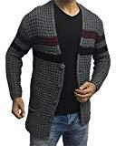 Offer for Hestenve Mens Cardigan Sweaters Open Front Cable Knit Long Sleeve Shawl Collar Coat Cardigans Grey