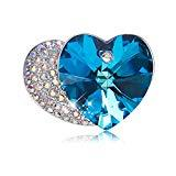 Galeap Womens Floral Silvery Tone Crystal Rhinestone Insect Butterfly Love Flower Heart Brooch Pin