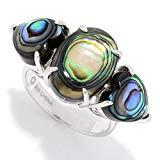 Offer for Pinctore Sterling Silver Abalone Doublet Three-Stone Ring