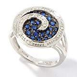 Offer for Pinctore Platinum o/Silver 0.71ctw Blue Sapphire & Diamond Ring