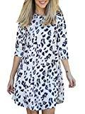 Offer for Makkrom Womens 3/4 Sleeve Floral Swing Midi Dress Crewneck Casual Tunic Tops for Leggings White