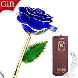 Offer for AGM 24k Gold Rose, Real Rose Flower Dipped in Gold with Stand in Gift Box, Gift for Mother's Day, Valentine's Day, Wedding Day, Home Decor(Blue)
