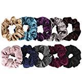 Offer for Velvet Scrunchies for Hair, Funtopia Velvet Hair Scrunchies Soft Hair Bands Ropes Hair Accessories for Women and Girls, Including 5 Premium Korean Velvet Scrunchies Hair Ties and 5 Striped Scrunchies