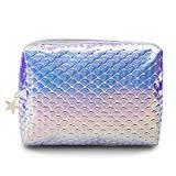 Offer for Holographic Mermaid Makeup bag Cosmetic Bag Toiletry Travel Bag Handy Large Protable Wash Pouch Waterproof Zipper Handbag Carry Case Organizer(cloud purple)