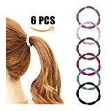 Offer for Elastic Hair Ties Ponytail Holders No Metal Multicolor Girls Hair Elastics 6Pcs