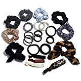 Offer for NOVAS 24PAK Grab & Go Ponytail holders w/Faux Pearl & Sequins in Brown Grey Blk & Leopard Prints