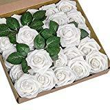 Offer for YSBER Roses Artificial Flowers - 25Pcs Big PE Foam Rose Artificial Flower Head for DIY Wedding Bouquets Centerpieces Bridal Shower Party Home Decorations (25 PCS, White)