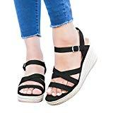 Offer for Coutgo Womens Wedge Espadrille Sandals Platform Open Toe Ankle Strap Summer Strappy Sandals Black