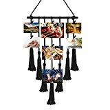Offer for Plaviya Boho Decor, Macrame Wall Hanging Hanging Photo Display Pictures Organizer Macrame Wall Decor, with 25 Wood Clips (Black)
