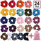 Offer for HQ-SITE 24Pcs Premium Velvet Hair Scrunchies Velvet Elastic Hair Bands Scrunchy Hair Ties Ropes Scrunchie for Women or Girls Hair Accessories with Collection Bags