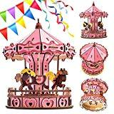 Offer for Apelila Carousel 3D Puzzles for Kids and Adults-New DIY Education Toy Wooden Model Puzzle
