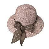 Offer for Sun Hats for Women Foldable Wide Brim Bowknot Straw Summer Beach UV UPF50 Hat Brown