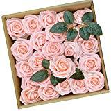 Offer for PETAFLOP Rose Flowers Peach Flowers Fake Rose Artificial Flowers Centerpieces for Tables, 25 Pieces