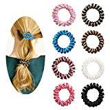 Offer for Spiral Hair Ties, No Crease Elastic Ponytail Holders Hair Ring, Phone Cord Traceless Hair Rubber Bands-8PCS #1