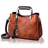 Offer for Leather Handbag and Purse for Women - Ladies Top-Handle Bag with Tassle