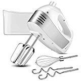 Offer for Hand Mixer with 5-Speed 250W Power Advantage Electric Handheld Mixer with Turbo and Easy Eject Button, Includes Storage Case Beaters Dough Hooks and Balloon Whisk By KEEMO, White ...