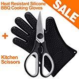 Offer for Kitchen Shears Kitchen Scissors Heavy Duty Dishwasher Safe Stainless Steel Sharp for Cutting Poultry Chicken Meat Fish Vegetables Soft Grip Handles, with Heat Resistant Silicone BBQ Cooking Gloves