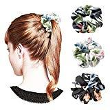 Offer for 3 Colors Women's Chiffon Flower Hair Scrunchies Hair Bow Chiffon Ponytail Holder