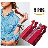 Offer for No Crease Ouchless Elastic Styling Accessories Pony Tail Holder Ribbon Bands Wine Red