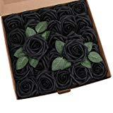Offer for YSBER Roses Artificial Flowers - 25Pcs Big PE Foam Rose Artificial Flower Head for DIY Wedding Bouquets Centerpieces Bridal Shower Party Home Decorations (25 PCS, Black)