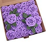 Offer for YSBER Roses Artificial Flowers - 50Pcs Big PE Foam Rose Artificial Flower Head for DIY Wedding Bouquets Centerpieces Bridal Shower Party Home Decorations (50 PCS, Purple)
