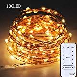 Offer for SFUN USB Powered Fairy String Lights with Remote Control 33ft 100LED 8 Modes for Valentine's Day Wedding Party Home Decoration (Warm White)