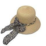 Offer for Sun Hats for Women Foldable Wide Brim Bowknot Straw Summer Beach UV UPF50 Hat Khaki