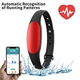 Offer for NexTrend Slim Fitness Watch Band, Tracker Watch with Heart Rate Monitor, Waterproof Sport Pedometer with Calorie Counter and Sleep Monitor, Gift for Parents, Free App (Red)