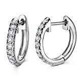 Offer for Hoop Earrings Gold Plated 925 Sterling Silver Huggie Earrings For Women And Girl (Sterling Silver Ten CZ)