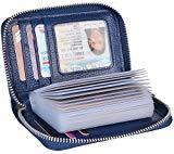 Offer for Yeeasy Credit Card Wallet Holder Zip Bifold Wallet Genuine Leather 25 Card Slots (Blue2)