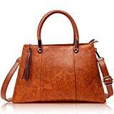 Offer for Ladies Top-Handle Leather Bag - Women Handbags and Purses - Vegan Leather Tassle Tote