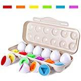Offer for Tinabless Learn Color & Shape Match Egg Set - Toddler Toys - Color Matching Egg Set - Educational Toys for 18 Months Baby and Up
