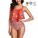 Offer for papasgix Womens Ruffled High Waisted Bikini Swimsuit Retro Vintage Two Pieces Bathing Suits Racerback Top Tankini (Tag XXL/US 10-12, C-red Stripe)