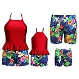 Offer for Mother and Me Swimwear Plain Bikini Halter+Floral Trunk 2pcs Family Bathing Suits for Women Small Size