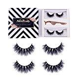 Offer for Newcally 3D Mink Eyelashes False lashes Messy Cross Dramatic Lashes 2 Pairs with Free Eyelashes Tweezer