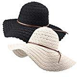 Offer for Wide Brim Sun Hats for Women Floppy Summer Beach Hat UV UPF Travel Packable Foldable with Chin Cord FURTALK Beige/Black