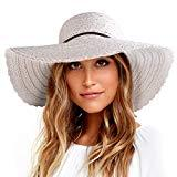 Offer for Wide Brim Sun Hats for Women Floppy Summer Beach Hat UV UPF Travel Packable Foldable with Chin Cord FURTALK Beige