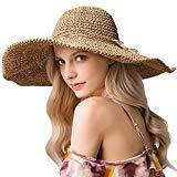Offer for Straw�Hat�Large Wide Brim�Foldable�Summer�Fedora�Floppy�Sun Hat�for Women UV-Protective Khaki Color