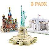 Offer for 3D Puzzles for Adults, Models American Series Architecture Kits Statue of Liberty, White House, Church of The Savior on Spilled Blood, 3-D Puzzle Play Set for 7 8 9 10 Year Old Kids, 3 Pack 117 Pieces
