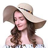 Offer for Women's Wide-Brimmed Straw Hat Foldable Roll up Sun Hat Beach Cap UPF 50+ with Elastic Band Beige