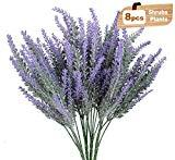 Offer for NEWSTART Artificial Lavender Flowers Bouquet, Artificial Plant Lifelike Natural Fake Plant for Wedding, Home, Kitchen, Garden, Patio, Indoor Outdoor Decoration - 8 Bundles